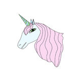 Beeldverhaalstijl Unicorn Isolated op Witte Vectorillustratie Als achtergrond Stock Afbeelding