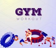 Beeldverhaalteam van bodybuilders die in sporthal uitoefenen stock illustratie