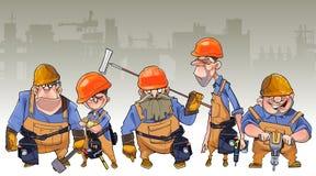 Beeldverhaalteam van mensen in helmen en kledings arbeider-bouwers royalty-vrije illustratie