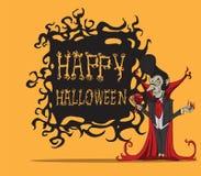 Beeldverhaaltelling Dracula. Halloween-monster Vector Illustratie