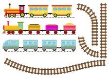 Beeldverhaaltrein met wagens en spoorweg De stuk speelgoed trein gaat per spoor Stock Afbeeldingen