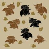 Beeldverhaaluilen geplaatst vectorillustratie Royalty-vrije Stock Foto