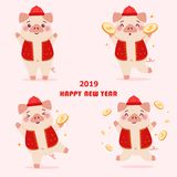 Beeldverhaalvarken met 2019 stock illustratie