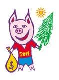 Beeldverhaalvarken met een Kerstboom, een zak van giften in een rode T-shirt 2019 - Jaar van het Varken Vector royalty-vrije stock foto's