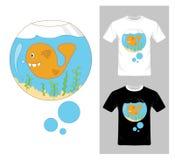 Beeldverhaalvissen in Aquariumvector T-shirt Grafisch Ontwerp Stock Foto