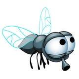 Beeldverhaalvlieg met grote die ogen op een witte achtergrond worden geïsoleerd De vectorillustratie van het beeldverhaalclose-up vector illustratie