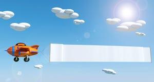 Beeldverhaalvliegtuig die met lege reclamebanner onder blauwe hemel vliegen royalty-vrije illustratie