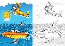 Beeldverhaalvoertuig - kleurende pagina met voorproef vector illustratie