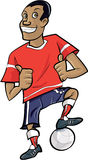 Beeldverhaalvoetballer met omhoog duimen Stock Foto