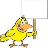 Beeldverhaalvogel die een teken houden Stock Foto's