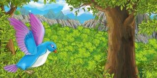 Beeldverhaalvogel die in het bos vliegen stock illustratie