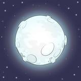 Beeldverhaalvolle maan met sterren Donkere sterrige nacht Vector illustratie Royalty-vrije Stock Afbeelding