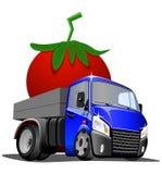 Beeldverhaalvrachtwagen gedreven tomaat op witte achtergrond royalty-vrije stock fotografie