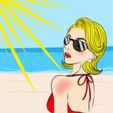 Beeldverhaalvrouw met zonnebrand royalty-vrije illustratie