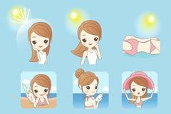 Beeldverhaalvrouw met zonneschijn vector illustratie