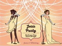 Beeldverhaalvrouwen in retro stijl het zingen jazzmuziek Stock Afbeelding