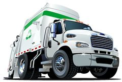 Beeldverhaalvuilnisauto stock illustratie