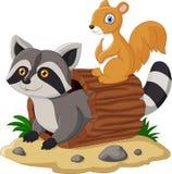 Beeldverhaalwasbeer en eekhoorn royalty-vrije illustratie