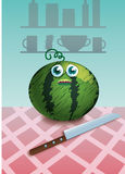 Beeldverhaalwatermeloen royalty-vrije stock afbeeldingen