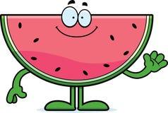Beeldverhaalwatermeloen het Golven Royalty-vrije Stock Afbeelding