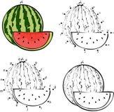 Beeldverhaalwatermeloen Vector illustratie Kleuring en punt aan punt Stock Foto