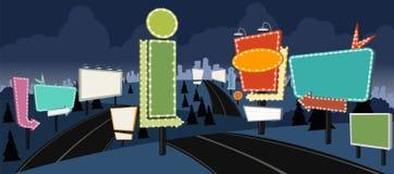 Beeldverhaalweg met aanplakborden bij nacht royalty-vrije illustratie