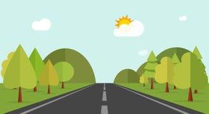 Beeldverhaalweg over groene bosheuvels, bergen, aardlandschap, weg vector illustratie