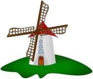 Beeldverhaalwindmolen bij groen die gras op wit wordt geïsoleerd Royalty-vrije Stock Afbeelding