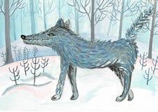 Beeldverhaalwolf, leuk karakter voor kinderen Roosterillustratie in beeldverhaalstijl stock illustratie