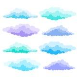 Beeldverhaalwolken in de stijl die van het oosten worden geplaatst Vectorbeeldverhaalwolken Stock Foto