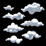 Beeldverhaalwolken, Ontwerpelement, de transparante achtergrond van PNG Stock Afbeeldingen
