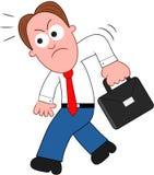 Beeldverhaalzakenman Angry en het Lopen. Royalty-vrije Stock Foto