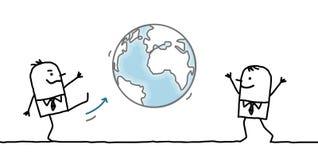 Beeldverhaalzakenman die een schop in de Aarde geven stock illustratie