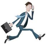 Beeldverhaalzakenman die haastig met een geval en een telefoon ter beschikking lopen Stock Foto