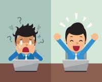 Beeldverhaalzakenman die verschillende emoties uitdrukken Stock Afbeelding