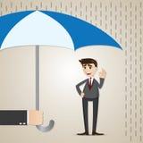 Beeldverhaalzakenman onder paraplu vector illustratie