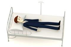 Beeldverhaalzakenman op het wachten van het het ziekenhuisbed stock illustratie