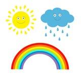 Beeldverhaalzon, wolk met regen en regenboogreeks. Geïsoleerd. Kinderen Royalty-vrije Stock Fotografie