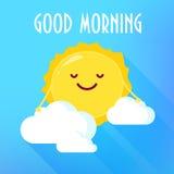 Beeldverhaalzon in wolkenglimlachen De kaart van de goedemorgen Vlakke stijl Vector illustratie Stock Foto