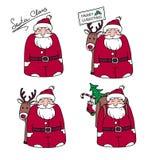 Beeldverhalen Santa Claus met giften en rendier Royalty-vrije Stock Foto's