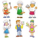 Beeldverhalen van jonge geitjeschef-koks en reeks van het koken Stock Foto's