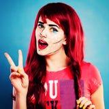 Beeldverhalenkarakter Vrouw met Professioneel Grappig Pop Art Makeup Royalty-vrije Stock Afbeelding