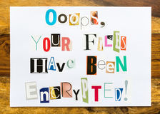 Been Encrypted - note on desk Stock Images