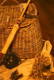 Been fishing, angling. Vintage fishing creel with been fished tackle, vest, fly rod & reel Stock Images