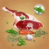 Been van lam met smakelijke sausen en kruiden Stock Foto