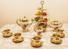 Beenden schicker Teesatz der Weinlese, das 18. Jahrhundert Stockbilder