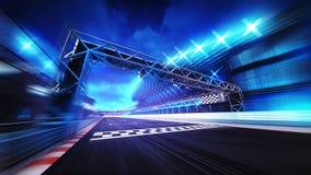 Beenden Sie Tor auf Rennbahnstadion und Scheinwerfer in der Bewegungsunschärfe Stockfotografie