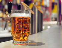 Beer. Glass in night club royalty free stock photo