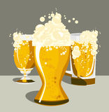 Beer. With the foam, in different tarakh: mug, cup Royalty Free Stock Images