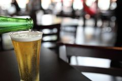 Glass of beer. In close up royalty free stock photo